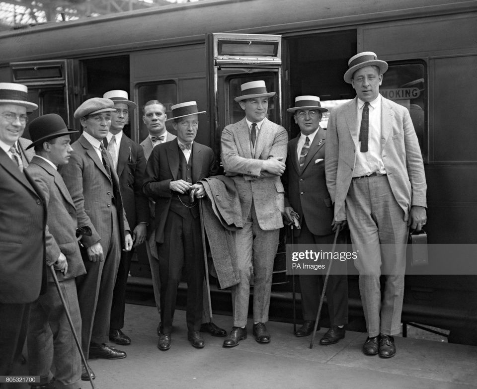Tommy Gibbons, third from the right, arriving to London in 1924 for his fight with Jack Bloomfield